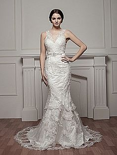 Delicate Sheer Strapped Mermaid Satin Wedding Dress with Bead Accent - USD $262.99 Love the back of this dress!