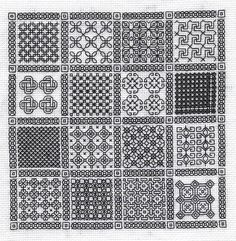 free blackwork embroidery motif and fill patterns - wonderful site - well worth visiting! Motifs Blackwork, Blackwork Cross Stitch, Blackwork Embroidery, Cross Stitching, Cross Stitch Embroidery, Embroidery Patterns, Cross Stitch Patterns, Broderie Bargello, Stitch Design