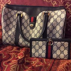 Authentic vintage Gucci purse & matching wallet Vintage navy blue Gucci speedy... Good vintage condition... Clean interior/ exterior.... Fading inside... No flaking... Size compared to a speedy 25...  NOT SELLING SEPARATELY, NO TRADES                                                          MORE PICTURES IN A SEPARATE LISTING, JUST SCROLL  Gucci Bags Totes