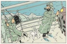 Tintin dans la tempete - Hergé • Tintin, Milou and Captain Haddock on board a ship's deck in driving rain • Herge,