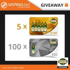 🔥COME ON GUYS! ONLY 3 PPL ENTERED! LETS GO!🔥100x$20 & 5x$100 #GIVEAWAY! ENTER: https://wn.nr/yf6gRb #vapelyfe #vapor #puffpuff #tabacco