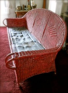 Antique Red Wicker Sofa // // // by JackpotJen (would be great for the enclosed porch) Wicker Porch Furniture, 1920s Furniture, Twig Furniture, Art Nouveau Furniture, Wicker Couch, Couch Pillows, Old Wicker, Wicker Baskets, Funky Chairs