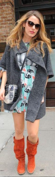 Blake Lively: Skirt and coat – Michelle Kim  Shirt – Loup Capri  Purse – Collina Strada