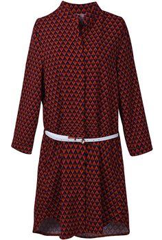 Red Long Sleeve Geometric Print Trench Coat US$34.43