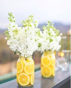 cute idea if we have white daisies and baby's breath! I think it might go well with everything since we're having lemonade and juices, and then you don't really have to add anything else to the jar if we don't want to