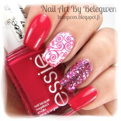 Nail Art by Belegwen: Essie Watermelon, China Glaze Friends Forever, Right? and Lumene Sparkling Sand