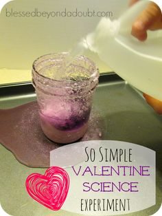 FUN baking soda and vinegar reaction Valentine Science. We discussed the love God has for us.