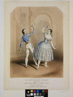 La Castilliana Bolero / Danced by / Madelle Fanny Elssler, & Monsr Perrot. / in the ballet divertissement / Le Delire d'un peintre Le Délire d'un peintre was produced in London in 1843. It was a typical piece of Romantic ballet nonsense, about a painter (Jules Perott) who is in love with a dancer (Fanny Elssler), whom he has painted.