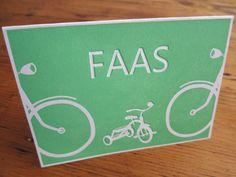 Letterpress, preeg, geboortekaartje, birth announcement, Faas, drukkerij, fietsen