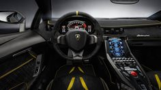 The luxurious interior can be finished to each Centenario client's specification. Sports seats in lightweight carbon fiber are included, with new stitching that features on the length of the dashboard, steering wheel, sunvisors, rocker covers, and the new inner door panels made of carbon fiber and Alcantara.