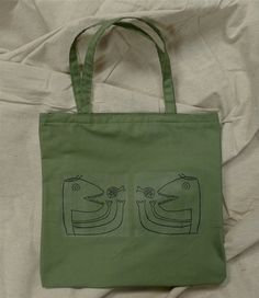 """Army Green """"Ham Guy"""", Handmade Tote/ 20% off Super Sale! from now until 4/12."""