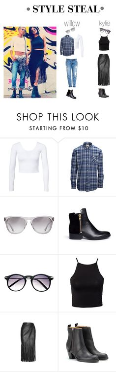 """""""WILLOW SMITH & KYLIE JENNER STYLE STEAL"""" by vtlouise ❤ liked on Polyvore featuring Estradeur, SELECTED, Oliver Peoples, 3.1 Phillip Lim, Tamara Mellon and Acne Studios"""