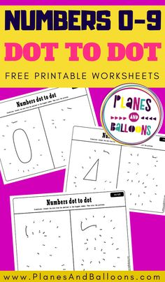 Free printable dot to dot activity for preschool and kindergraten - connect the dots worksheets. #prek #planesandballoons Learning Numbers Preschool, Printable Preschool Worksheets, Kindergarten Math Activities, Free Preschool, Fun Learning, Counting Activities, Alphabet Activities, Math Resources, Free Printables