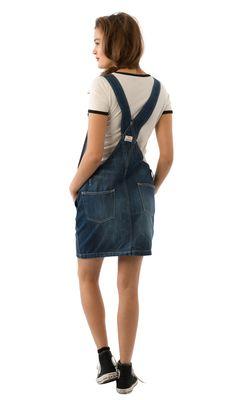 USKEES CLAIRE Short Darkwash Denim Dungaree Dress - Loose fit. #USKEES #LoveUS
