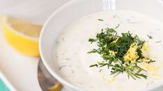 Kylmä sitruuna-yrttikastike - Yhteishyvä Tapas, Ethnic Recipes, Early Bird, Food, Sauces, Drinks, Drinking, Beverages, Essen