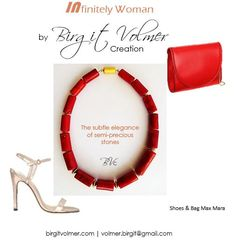 Corail and goldplated Silver Necklace by Birgit Volmer Creation