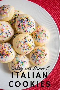 My Mom's Italian Cookies have a soft texture, thanks to a secret ingredient! Flavor them with vanilla or use anise to make anisette cookies. You're going to love these!! #italiancookies #italiancookiestraditional #italiansprinklecookies