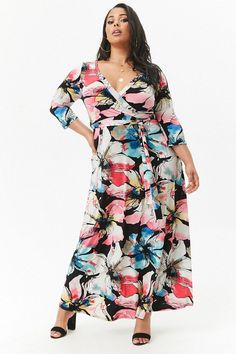 Plus Size Watercolor Floral Surplice Maxi Dress - May Editor's Picks - The May Edit - Trending Now - Style guide