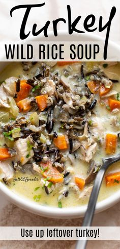 Got leftover turkey from Thanksgiving or a Sunday roast? Give this amazing turkey wild rice soup a try (you can also use leftover chicken). It's cozy, creamy, and so delicious. Wild Rice Recipes, Healthy Turkey Recipes, Easy Soup Recipes, Healthy Soup, Eating Healthy, Turkey Wild Rice Soup, Leftover Turkey Soup, Chicken Wild Rice Soup, Turkey Soup From Leftovers