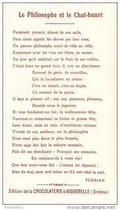 Fables de Florian - Le Philosophe et le Chat-Huant