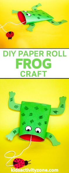 This adorable DIY Paper Roll Frog Craft is an easy craft that kids will love making and playing with. All you need are a few household craft items like cardstock or construction paper, yarn, markers, scissors and glue. I'll bet you have all of it on hand already! Toddler Art, Toddler Preschool, Toddler Crafts, Preschool Crafts, Craft Projects For Kids, Crafts For Kids To Make, Fun Activities For Kids, Kids Crafts, Paper Towel Roll Crafts