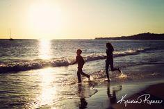 kids running on beach, sunset silhouette kids, santa barbara beach sunset
