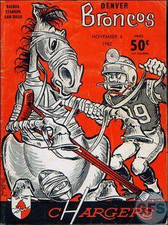 AFL Game Program 1962 Denver Broncos San-Diego Chargers