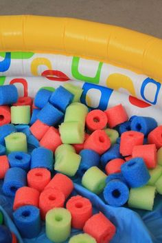 "Pool Noodle Pool - how to make a home ""ball pit"" using pool noodles instead of balls. Cheap and fun! (Cut up pool noodles and fill an inflatiable swimming pool full of them) Infant Activities, Activities For Kids, Crafts For Kids, Baby Play, Baby Kids, Home Daycare, Toddler Fun, Summer Fun, Summer Pool"