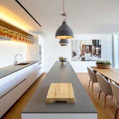 White Cladding, Neolith Countertop & Basalt Backsplash - Scandinavian Kitchen By Thesize