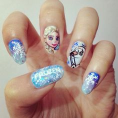 """20 Amazing """"Frozen"""" Nail Art Designs (with Tutorial) - Meet The Best You Love Nails, Fun Nails, Pretty Nails, Nail Art Designs 2016, Cute Nail Designs, Pretty Designs, Frozen Nail Art, Nails 2015, Girls Nails"""