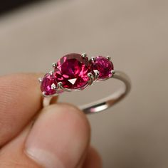 Ruby Ring Three Stone Ring Sterling Silver by KnightJewelry
