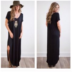 Black Maxi Dress Colors - Mint . Coral . Black S( 2-6) M (8-10) L(12-14) . Long Rounded Hem best selling maxi dress . Perfect for spring summer . Loose fit . V-neckline. Nwot You will love this uber soft LONG DRESS WITH POCKET AND SIDE OPEN DETAIL. Runs loose so you can size down if you want a more narrow silouhette . Comment for the color you would like . Coral, mint and black Sizes S M L . Nwot . Rayon and spandex blend . Made in USA Embellished Vivacouture Dresses Maxi