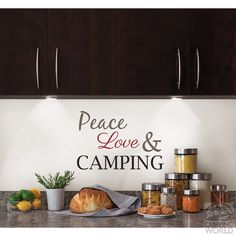 Removable Wall Decor - 'Peace, Love & Camping' - Brewster Home Fashions WS1494 - Furnishing Accessories - Camping World