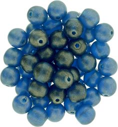 5-06-MSG6008 Round Beads 6mm : Sueded Gold Capri Blue