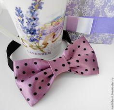 """Галстук бабочка """"Lavender"""" - сиреневый,в горошек,галстук,галстук-бабочка"""
