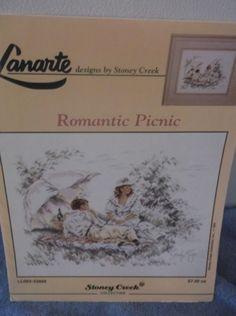 1991 Lanarte & Stoney Creek Cross Stitch Romantic Picnic Pattern #StoneyCreekCollection