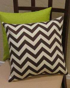 (Brown) chevron stripes + lime green & tan