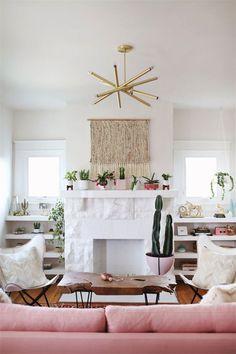 pink living room decor