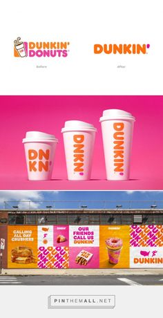 Dunkin' Donuts evolves it's brand forward - Grits + Grids. - a grouped images picture Donut Logo, Hoarding Design, Catalog Printing, Restaurant Branding, Paper Packaging, Coffee Branding, Brand Board, Brand Guidelines, Logo Food