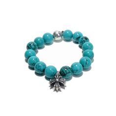 Chrome Hearts Turquoise Beads Bracelet 1Cross 1ball - earring cross - chrome hearts id bracelet - chrome hearts spinner ring