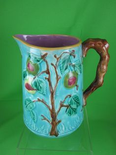 Antique Majolica Pitcher, Fruit Tree on Turquoise