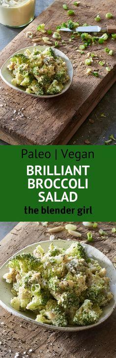 This raw vegan creamy dairy-free broccoli salad is super delicious.