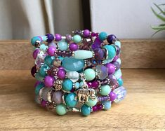 Gift for women / Boho Jewelry / Boho Bracelet / Memory Wire Bracelet / Layered bracelet / Elegant Boho Jewelry / Beaded wrap Bracelet Gift… Wire Wrapped Jewelry, Wire Jewelry, Boho Jewelry, Beaded Jewelry, Beaded Bracelets, Wire Earrings, Jewlery, Jewelry Box, Memory Wire Bracelets