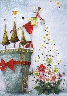 New Garden Flower Illustration Watercolour Ideas Art And Illustration, Christmas Illustration, Christmas Art, Vintage Christmas, Whimsical Christmas, Christmas Cookies, Decoupage, Art Fantaisiste, Art Mignon