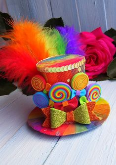 Ready to Ship Free Shipping Size - diameter 4 inch , height 2 1/2 inch FREE SHIPPING Mini Top Hat Headband Rainbow Mini Top Hat Mad Hatter Hat Tea Party Hat Alice in Wonderland Hat Fascinator Rainbow Mini Hat Mini Top Hat made on the aligator clip, metal headband, plastic headband,