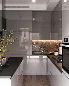 Modern kitchen interior design by BeSense Kitchen Room Design, Luxury Kitchen Design, Kitchen Cabinet Design, Luxury Kitchens, Home Decor Kitchen, Interior Design Kitchen, Kitchen Furniture, Küchen Design, House Design