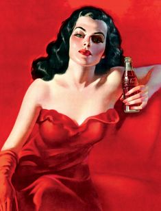 """The sultry """"Lady in Red"""" advertisement from Brazil, 1950."""