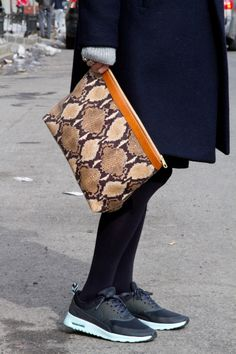 Snakeskin and sneakers. Just do it. NYC Street Style #nyfw #streetstyle #nike