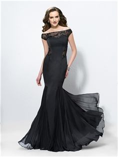 Sexy Trumpet/Mermaid Off the Shoulder Pleats Prom Dress Old Hollywood!