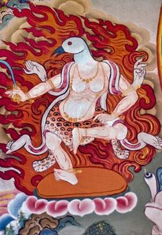Goose-headed Dakini with flaming aura, Sikkim. She dances in the manner of Vajrayogini, wearing a leopard skin and human skin kilt with overtones of Kali. Year unknown.